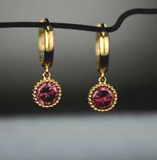 14k Yellow Gold Dangle Round Birthstone Huggie Earrings