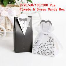 20/60/100/200x Wedding Bomboniere Candy Favour Boxes Dress & Tuxedo Bride  Groom