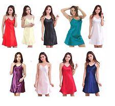 Women's Rayon Silk Satin Robe Nightgown Sleepwear Spaghetti Strap Tank Dress New