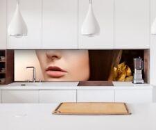 Aufkleber Küchenrückwand Friseur Salon Haare braun Küche Spritzschutz 22А1534