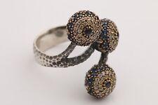 Turkish Jewelry Nazar Evil Eye Sapphire Topaz Rose 925 Sterling Silver Ring