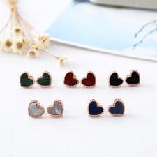 18K Rose Gold GF 10MM Simple Love Heart Ear Studs Earrings Quality Jewelry Gift