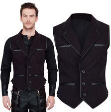 VINTAGE Goth Steampunk GILET UOMO NERO ROSSO GENTS MAN Vest Black Red vg16380
