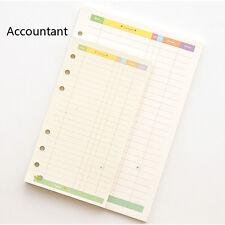 A5/A6 Accountant Coloured Planner Diary Insert Refill Schedule Organiser 45Sheet