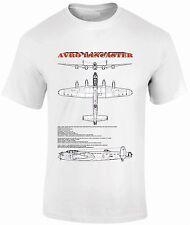 T-Shirts FPBP306 Avro Lancaster Bomber  Blue Prints ww11 Fantasy Printshop