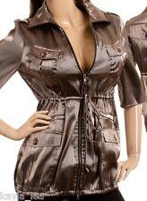 Brown/Bronze Satin Shimmer Short Sleeve Jacket/Coat S