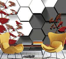 3D Rouge Feuille 45 Photo Papier Peint en Autocollant Murale Plafond Chambre Art