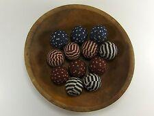 "12 Primitive Country 1.5"" Americana  Fabric Rag Balls Jar Bowl Basket Filler"