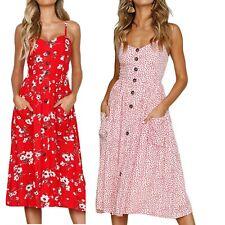 elegante abito cerimonia da donna stampa floreale vestito estivo casual  vintage a85685e1c84