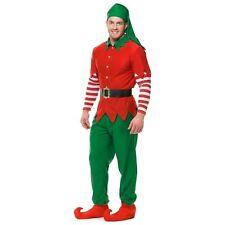 ADULT MENS ELF COSTUME HOLIDAY CHRISTMAS SANTA'S HELPER RED GREEN HAT BELT PANTS