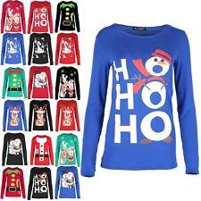 Da Donna Con Manica Corta Natale Top Con Cintura Costume Da Babbo Natale Stampato Stretch T Shirt