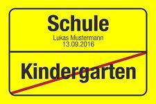 Einladung zur Einschulung Postkarte Ortsschild m. Namen Schulkind Personalisiert