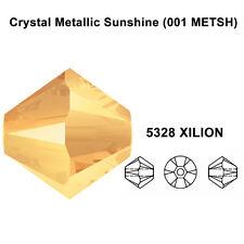 CRYSTAL METALLIC SUNSHINE gold Genuine Swarovski 5328 Bicone Beads *All Sizes