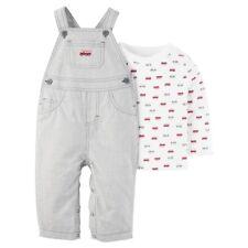 Carter's Baby Boys 2 Piece Fire Trucks Shirt & Grey Striped Overalls, NB 3M 12M
