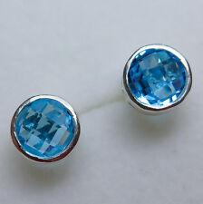 Natural Swiss Blue Topaz Silver 9ct 14k 18k yellow white rose Gold stud earrings