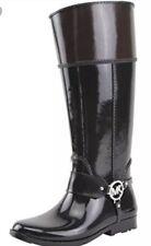 New Michael Kors Fulton Harness Rain Boots black coffee Rubber MK silver logo