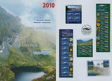 Romania 2010 laghi di montagna, Nahuel Huapi, MARE, Lakes, mi.6462-63, KB, blocco 475-476,fdc