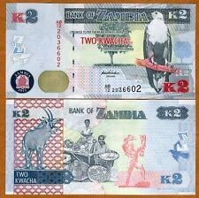 Zambia, 2 Kwacha, 2012 (2013), P-New, UNC   New Revalued Currency