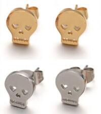 Skull Stud Earrings - STEEL - Hypoallergenic - Silver or Gold - BOXED