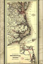 Poster, Many Sizes; Maps Of Norfolk Albermarle Atlantic Railroad 1891