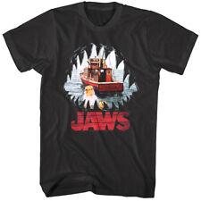 Jaws Shark Teeth Mouth POV Men's T Shirt Boat Orca Fishing Ship Ocean Attack
