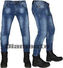 Jeans uomo slim elasticizzato blu Denim pantaloni 5 tasche nuovo 833