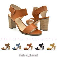 Women Open Toe Fastener Ankle Strap Chunky Heel Stacked Sandals Wait