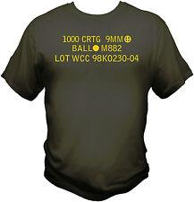 9mm Ammo Can T shirt  Army Berretta M&P Glock Molon Labe Morale Patch