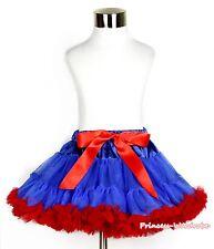 XMAS Royal Blue Red Girl Pageant Pettiskirt Skirt Dance Petti Tutu Dress 1-8Year