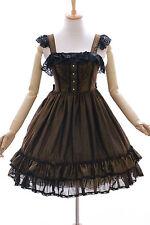 JL-616-1 gold schwarz glitzer Stretch Chiffon Gothic Lolita Kleid Kostüm dress