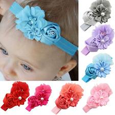 Cinta Pelo con flores rosa perla Satén Bebé Niña Adorno Para Cabello