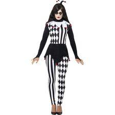 Harlekin Kostüm Damen Pierrot Damenkostüm Halloween Narrenkostüm Frauen Clown