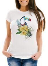 Damen T-Shirt Tucan Ananas Tropical Summer Jungle Paradise Pineapple Slim Fit