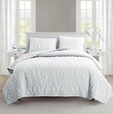 Solid White Beach Coastal Seashells 3 pc Quilt Set Coverlet Queen King Bedding