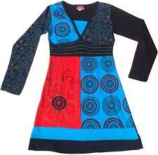 Nepalese Cotone Patchwork Stile Etnico Hippy Boho Festival Abito 10 12 14 16