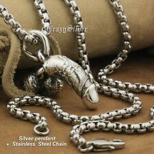 Phallus Phallic 925 Sterling Silver Charm Buddhist Amulet Pendant Necklace TA20B