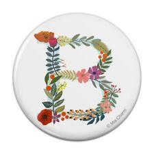 Letter B Floral Monogram Initial Pinback Button Pin Badge