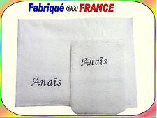 Serviette + gant de toilette brodés au prénom ou drap de bain + gant NEUF Ref.2