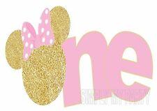 IRON ON TRANSFER / STICKER - MINNIE MOUSE - GOLD 1ST BIRTHDAY - ONE - CAKE SMASH