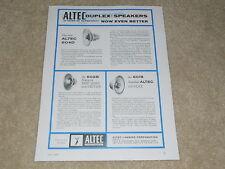 Altec 1958 Ad, 1 page, 604d Duplex, 602b, 601b, Article, Specs, Info