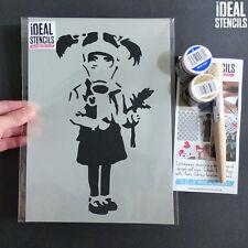 Banksy Stencil MASCHERA ANTIGAS Girl Holding fiori arredamento dipinto Wall Art Craft