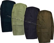 Mens Elasticated Waist Cargo Combat Plain Shorts 6 Pocket Zip Fly S - 3XL