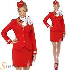 Red Trolley Dolly Virgin Air Hostess Stewardess Cabin Crew Fancy Dress Costume