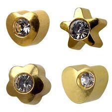 Studex Plus Ear Piercing Gold Plated Shape and Crystal Shapelites Stud Earrings