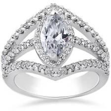 Marquise Diamond Engagement Ring 2.00ct Halo Unique 14K White Gold Enhanced