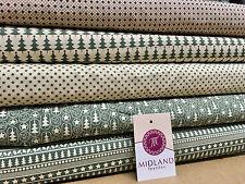 Verde Scandi 100% Cotton Natale a Tema Patchwork & Hobby Tessuto 114cm Mtex