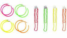 Eighties Retro Neon Hoop Earrings and Necklace Beads 1980s 80s PARTY Fancy Dress