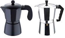 San Ignacio Stovetop Espresso Maker Coffee Maker Black Silver 3, 6, 9  & 12 cup