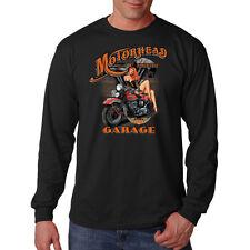 Motorhead Garage Sexy Pin Up Girl Motorcycle Biker Long Sleeve T-Shirt Tee