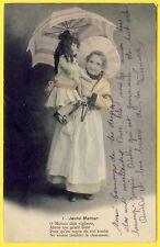 cpa EDWARDIAN JEUNE FILLE en COSTUME avec sa POUPÉE CHILDREN HATS DOLL TOY